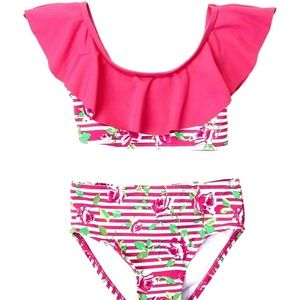 Betsey Johnson Pink Floral 2 piece swimsuit UVP +5